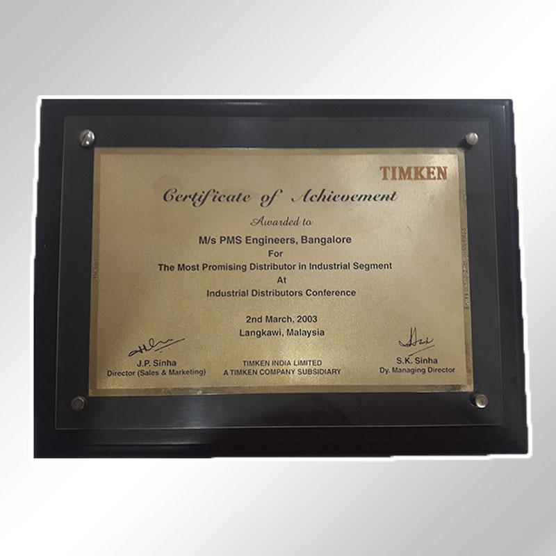 timken achievement of certificate 2003