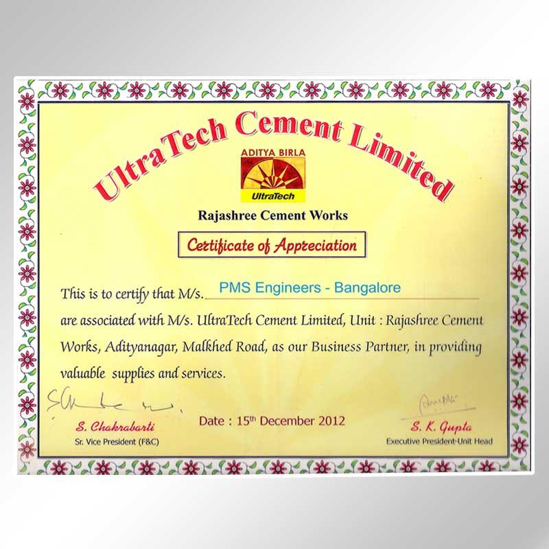 ultra tech certificate of appreciation 2012